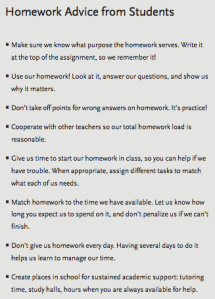 Homework advice from students